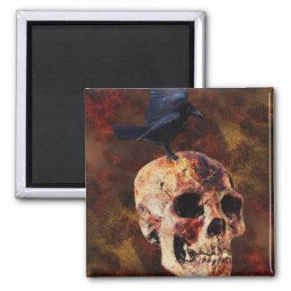 Creepy Gothic Skull and Crow - Halloween Horror Refrigerator Magnet