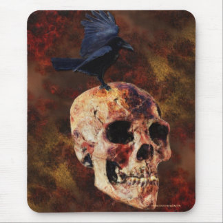 Creepy Gothic Skull and Crow - Halloween Horror Mouse Pad