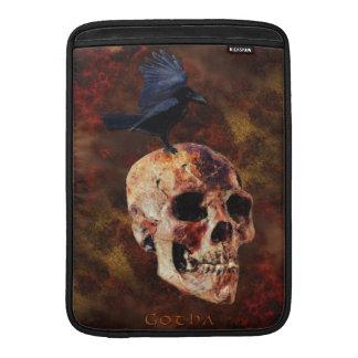 Creepy Gothic Skull and Crow - Halloween Horror Sleeve For MacBook Air