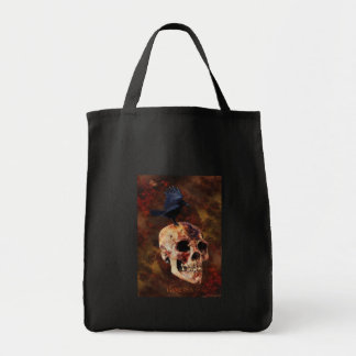 Creepy Gothic Skull and Crow - Halloween Horror Tote Bag