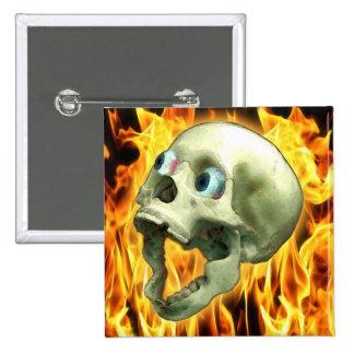 Creepy Gothic Skull, Flames, Halloween Horror Pinback Button