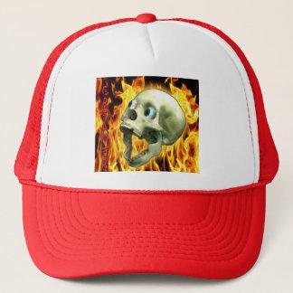 Creepy Gothic Skull, Flames, Halloween Horror Trucker Hat
