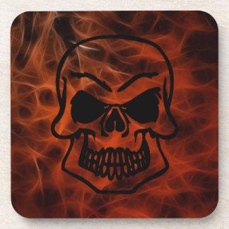 Creepy Gothic Skull Red Fractal Art Coasters
