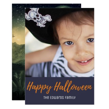 Halloween Themed Creepy Graveyard Crow Moon Halloween Photo Card