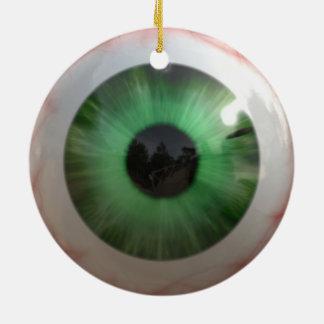 Creepy Green Eyeball Ceramic Ornament