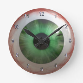 Creepy Green Eyeball Halloween Fun Clock