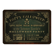 Creepy Green & Gold Happy Halloween Party Invite
