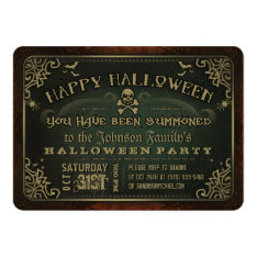 Creepy Green & Gold Happy Halloween Party Invite at Zazzle