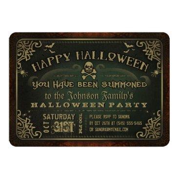 Halloween Themed Creepy Green & Gold Happy Halloween Party Invite