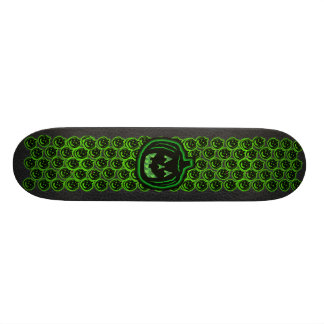 creepy green light pumpkin skateboard deck