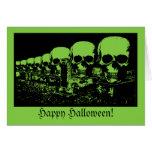 Creepy Green Skulls Halloween Card
