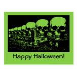 Creepy Green Skulls Halloween Card Postcard