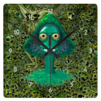 Creepy Grinning Mushroom and Pixie Square Wall Clocks