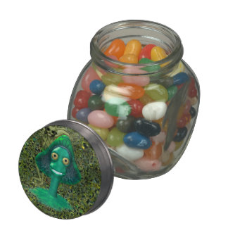 Creepy Grinning Mushroom and Pixie Glass Candy Jars