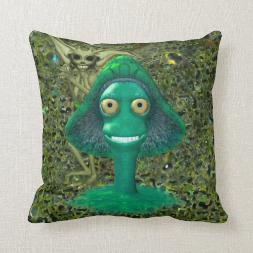Creepy Grinning Mushroom and Pixie Pillow