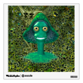 Creepy Grinning Mushroom and Pixie Wall Decal