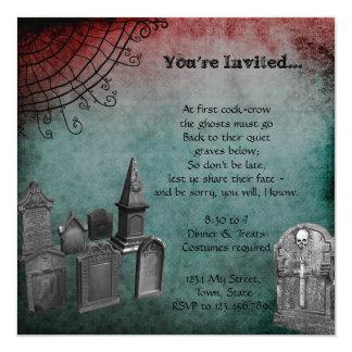 Creepy Grunge Graveyard Halloween Party Card
