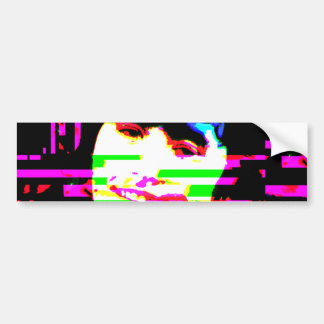 Creepy Guy Smile Glitch Art Bumper Sticker