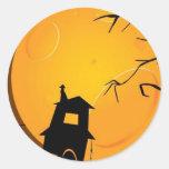 Creepy halloween background design round stickers