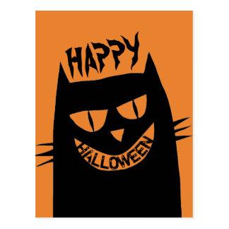 Creepy Halloween Black Cat Postcard