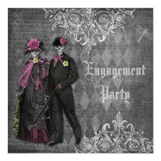 Creepy Halloween Bride & Groom Engagement Party Invitation