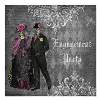 Creepy Halloween Bride Groom Engagement Party Personalized Invites