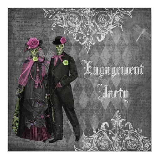 Creepy Halloween Bride & Groom Engagement Party 5.25x5.25 Square Paper Invitation Card