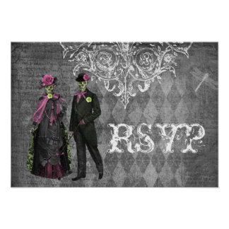 Creepy Halloween Bride Groom RSVP Wedding Custom Announcement