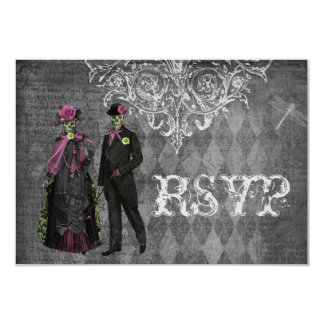 Creepy Halloween Bride & Groom RSVP Wedding 3.5x5 Paper Invitation Card
