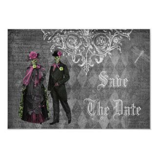 Creepy Halloween Bride & Groom Save the Date 3.5x5 Paper Invitation Card