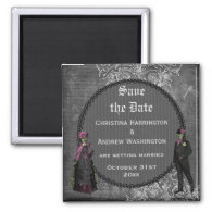 Creepy Halloween Bride & Groom Save the Date Refrigerator Magnet