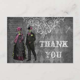 Creepy Halloween Bride & Groom Thank You Wedding