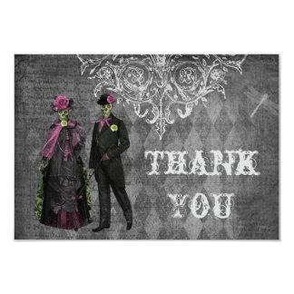 Creepy Halloween Bride & Groom Thank You Wedding 3.5x5 Paper Invitation Card