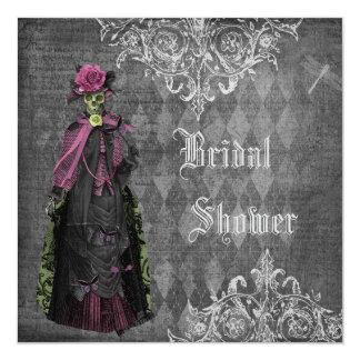 Creepy Halloween Bride Shabby Chic Bridal Shower 5.25x5.25 Square Paper Invitation Card