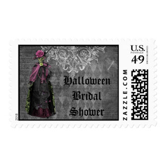 Creepy Halloween Bride Shabby Chic Bridal Shower Postage Stamps