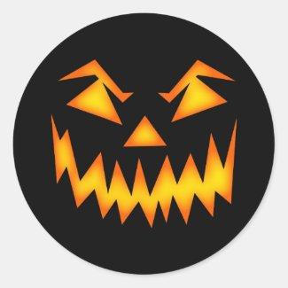 Creepy Halloween Evil Face Classic Round Sticker