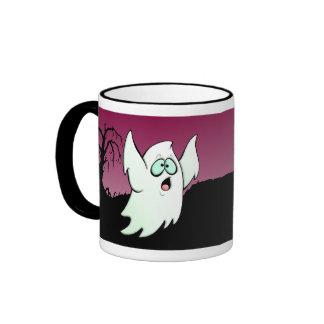 Creepy Halloween Ghost and Bat Ringer Mug