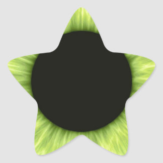 Creepy Halloween Green Eye Star Sticker