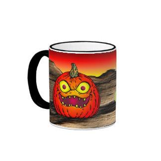 Creepy Halloween Jack-O-Lantern Ringer Coffee Mug