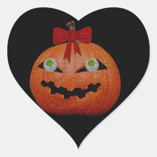 Creepy Halloween Jack O' Lantern Heart Stickers