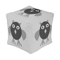 Creepy Halloween Owl Cube Pouf