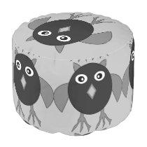 Creepy Halloween Owl Round Pouf