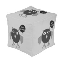 Creepy Halloween Party Owl Cube Pouf