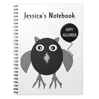 Creepy Halloween Party Owl Customizable Notebook