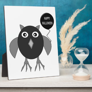 Creepy Halloween Party Owl Plaque