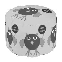 Creepy Halloween Party Owl Round Pouf