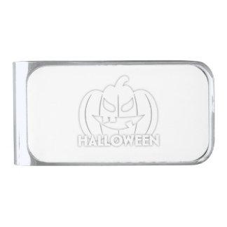 Creepy Halloween pumpkin Silver Finish Money Clip