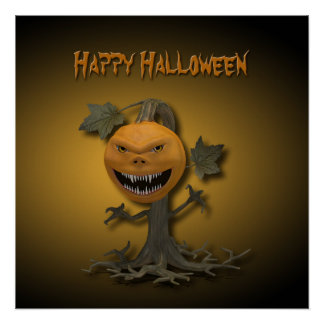 Creepy Halloween Pumpkin Tree - Poster