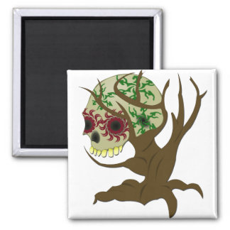 Creepy Halloween Skull 2 Inch Square Magnet