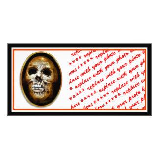 Creepy Halloween Skull Customized Photo Card